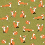 Forest by Makower UK - 6728 - Foxes on Olive Green  - 2172_G - Cotton Fabric